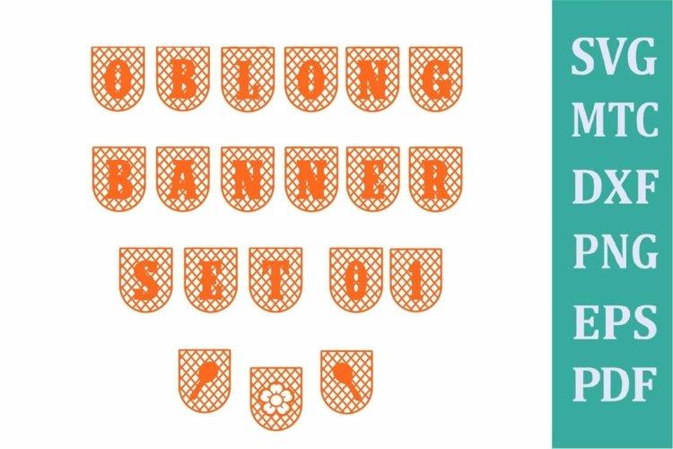 Banner Oblong Criss Cross Set 01 Alphabet A to Z & # 0 to 9