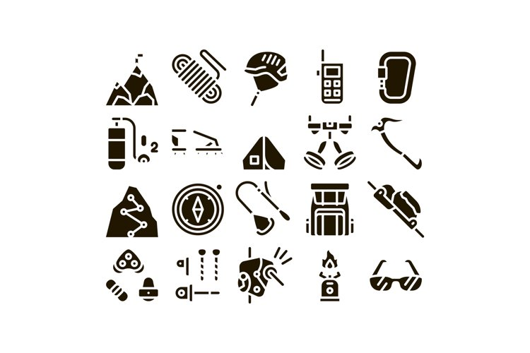 Alpinism Collection Elements Vector Icons Set example image 1
