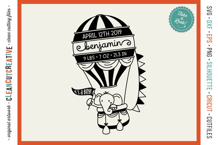 Baby Announcement HOT AIR BALLOON Baby Birth Stats SVG file example image 1