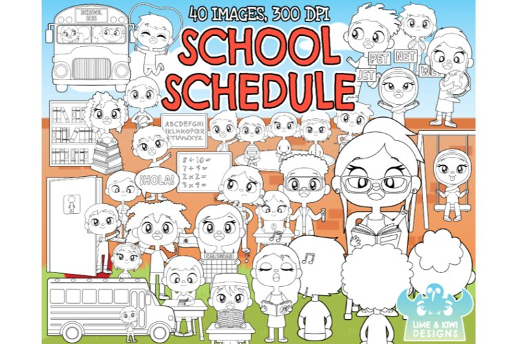 School Schedule Digital Stamps - Lime and Kiwi Designs example image 1