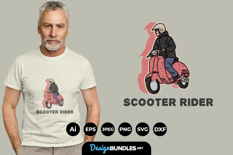 Scooter Rider for T-Shirt Design example image 1