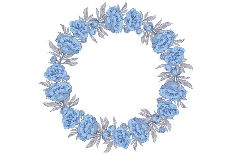 Vector Clipart with blue peonies flowers example image 1
