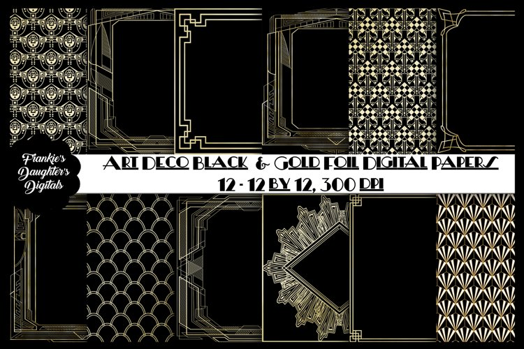 Art Deco Gold Foil and Black Digital Papers, Gatsby Style example image 1
