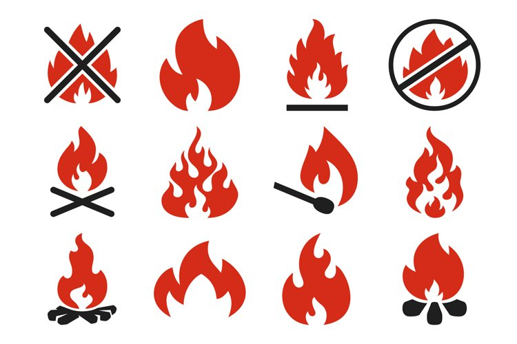 Burn fire icon. Burning flame fireball silhouette or danger example image 1