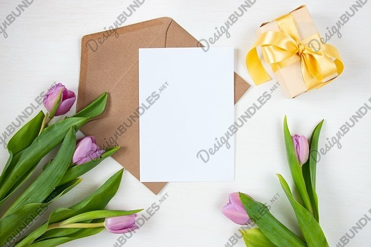 Spring background with tulips. Mother's day holiday concept. example image 1