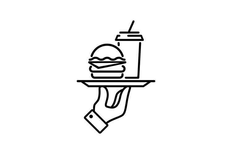 Hamburger or sandwich with coffee line icon. Vector example image 1