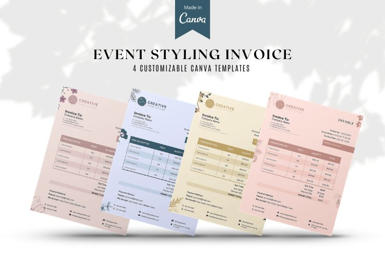 Event Styling Invoice template, 4 Styles Canva Template example image 1