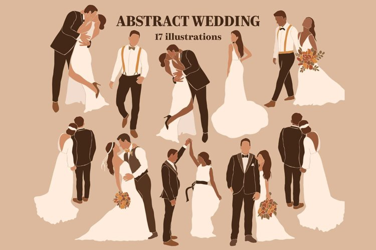 Abstract wedding people bride and groom. example image 1