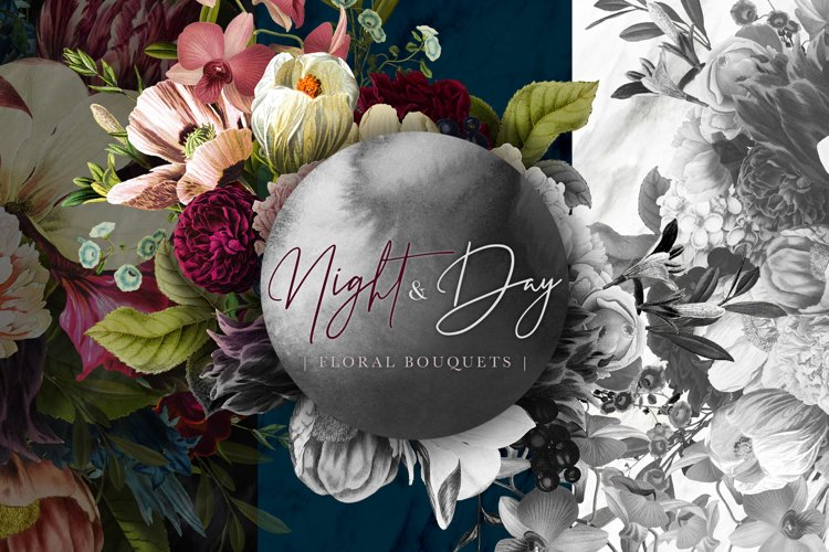 Night and Day Floral Bouquet Graphics