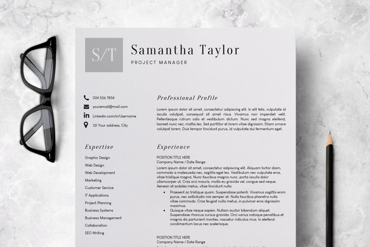 Resume Template   CV Template - Samantha Taylor