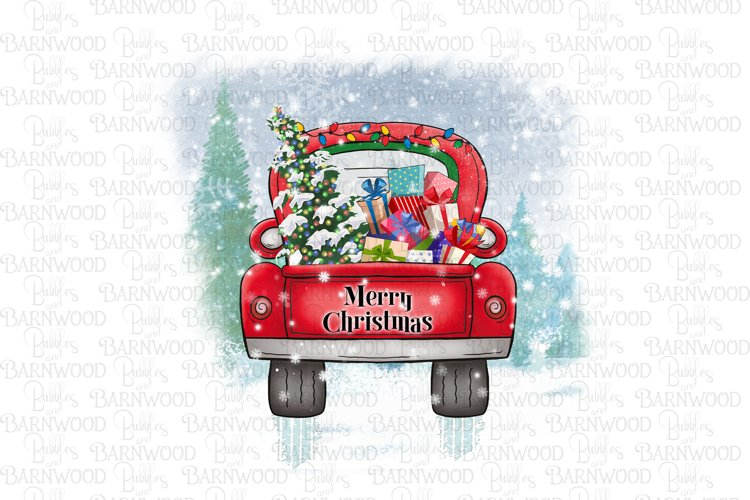 Red Truck with Presents & Tree Scene
