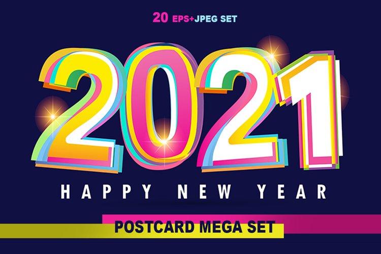 Happy new 2021 year - mega set label example image 1