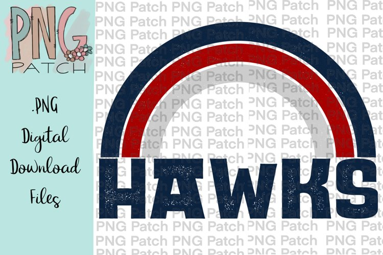 Navy and Red Hawks Rainbow Football Tailgating PNG File example image 1