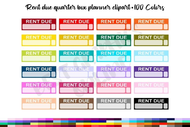 100 Rent due quarter box planner stickers clipart Reminder example image 1