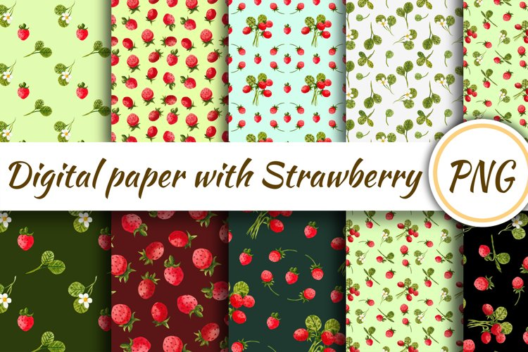 Digital paper with strawberries. Seamless pattern with straw