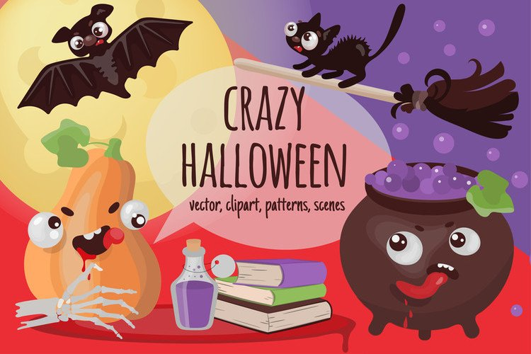CRAZY HALLOWEEN Hand Drawn Flat Style Vector Set example image 1