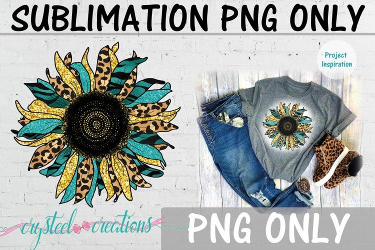 Sublimation Sunflower Teal Leopard Print 300dpi PNG