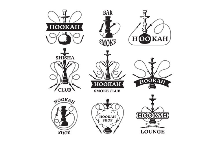 Illustrations and labels set of different hookahs. Lounge sm example image 1