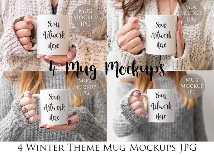 4 Mug Mockups - winter jumpers theme example image 1