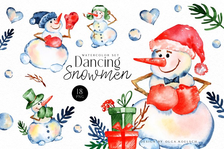 Watercolor snowman clipart, Cute Christmas diy Winter example image 1