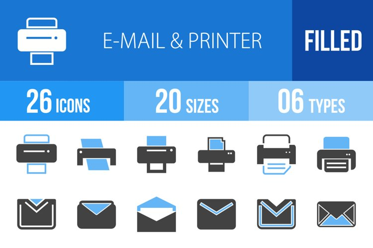 26 Email & Printer Filled Blue & Black Icons example image 1