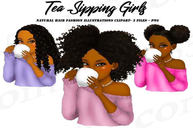 Tea Sipping Girls Black Women Clipart Natural Hair Girls PNG