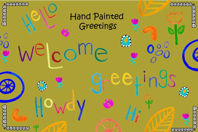 Hand Painted Watercolor Greetings and Elements