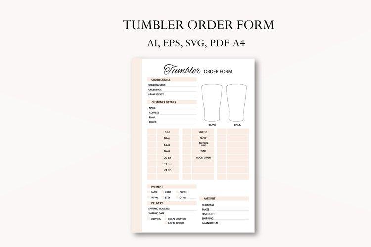 Tumbler order form, business planner