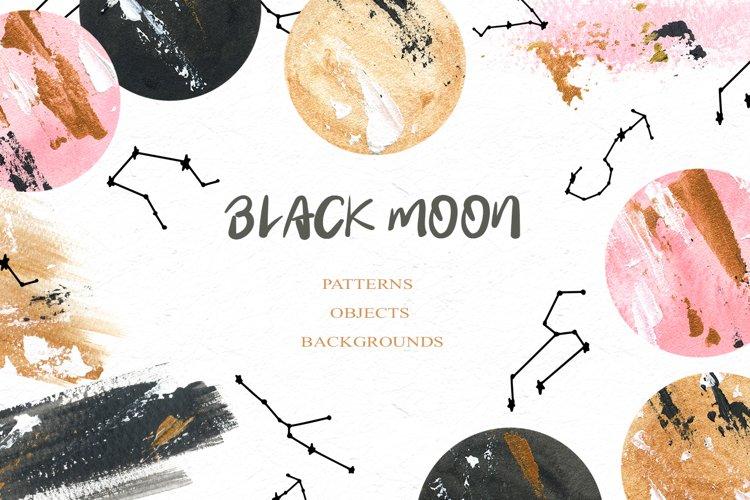 Black Moon clipart, Acrylic and watercolor moon, Star zodiac