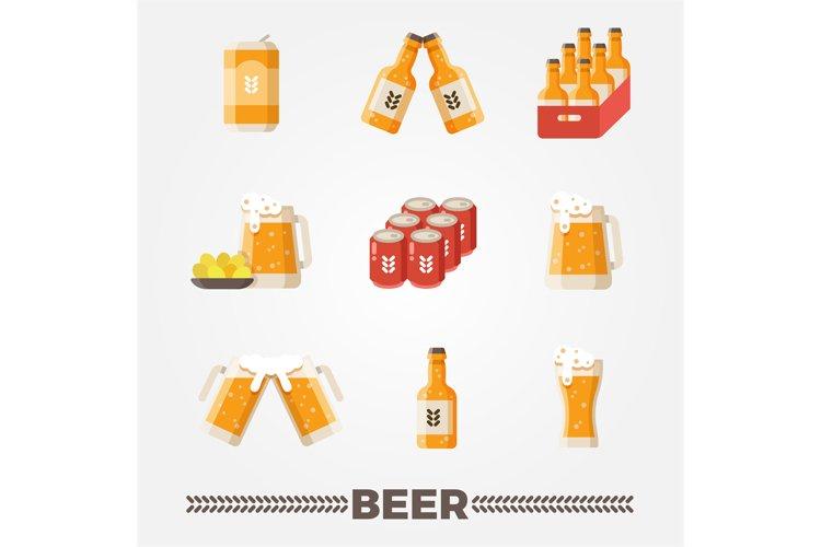 Beer vector flat icons vector set. Oktoberfest german festiv