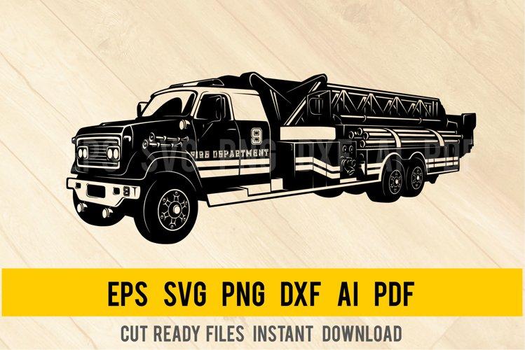 Fire Truck SVG, Firetruck Svg, Fire Engine SVG, FD Clipart example image 1