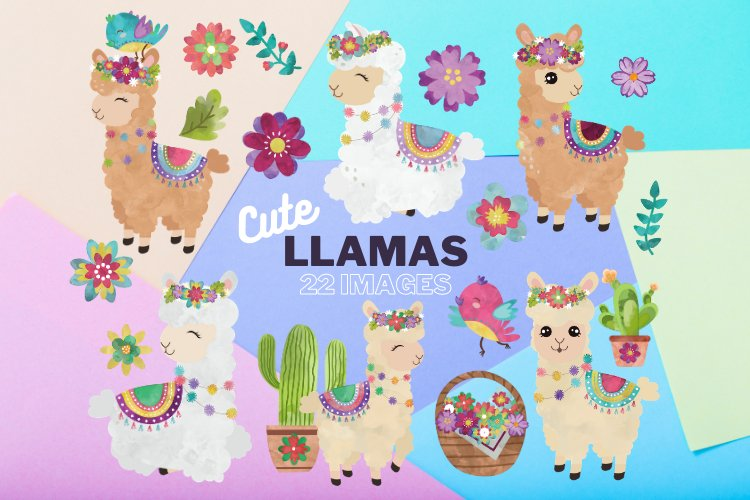 Colorful Llamas - Decorated Llama - clipart - Alpaca example image 1