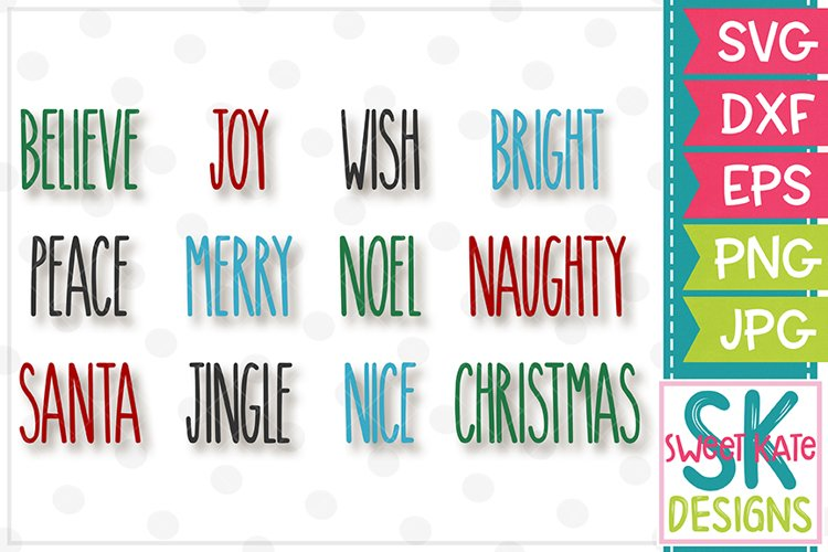 Skinny Christmas Words SVG DXF EPS PNG JPG example image 1