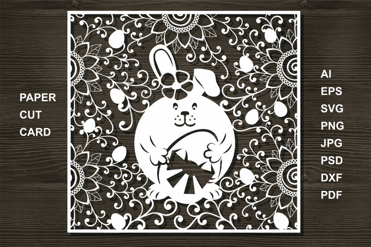 Easter Eggs Card SVG Cut file for Crafters. Bunny cut example image 1
