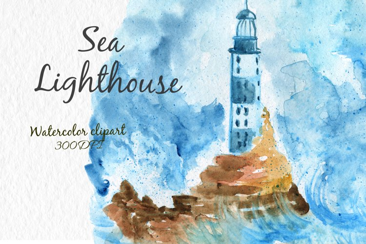 Watercolor clipart Lighthouse Clipart Sea.