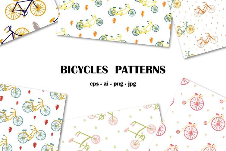 Set of vector bicycles patterns, AI, EPS, PNG, JPEG