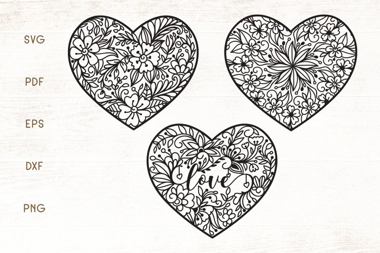 Floral Heart Zentangle SVG example image 1