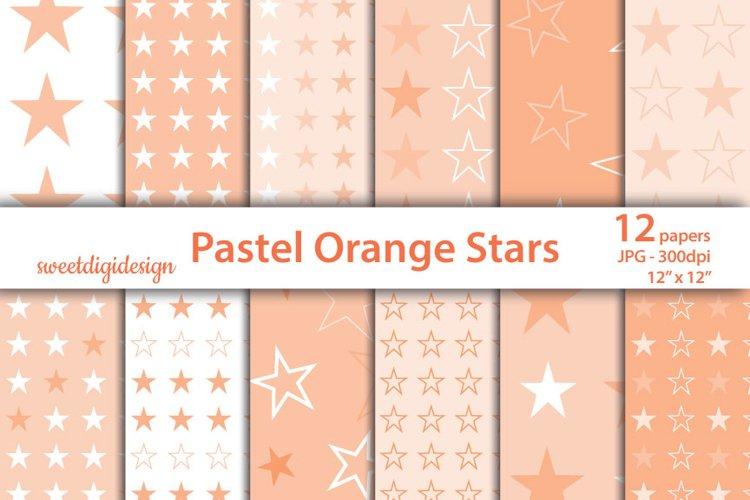 Pastel orange stars seamless pattern