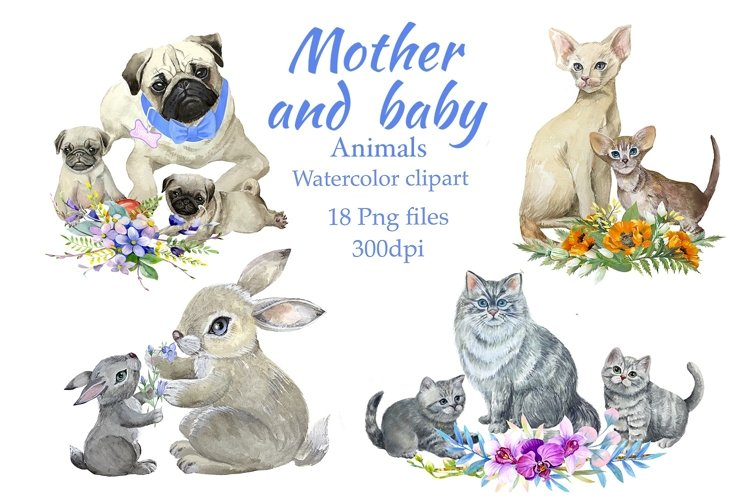 Mom and baby animals, watercolor clipart,Mothers day example image 1