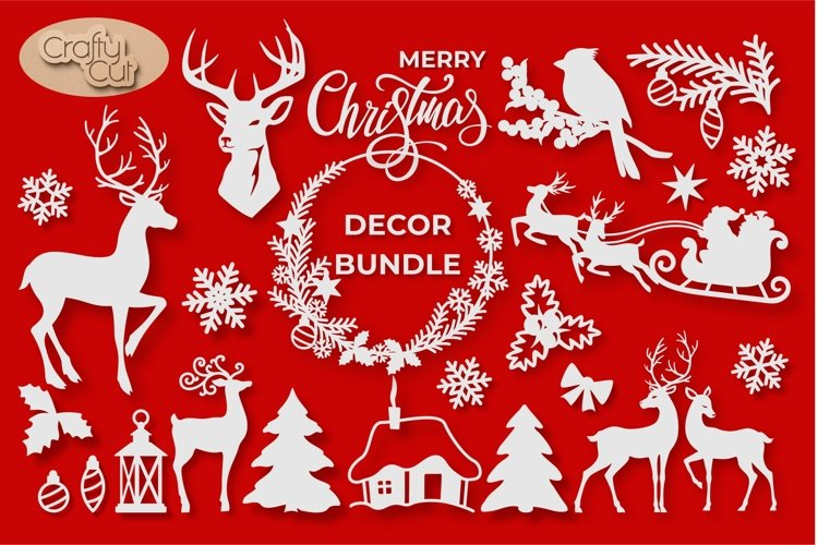 Christmas Decorations. Christmas Holiday Decor. Lasercut SVG