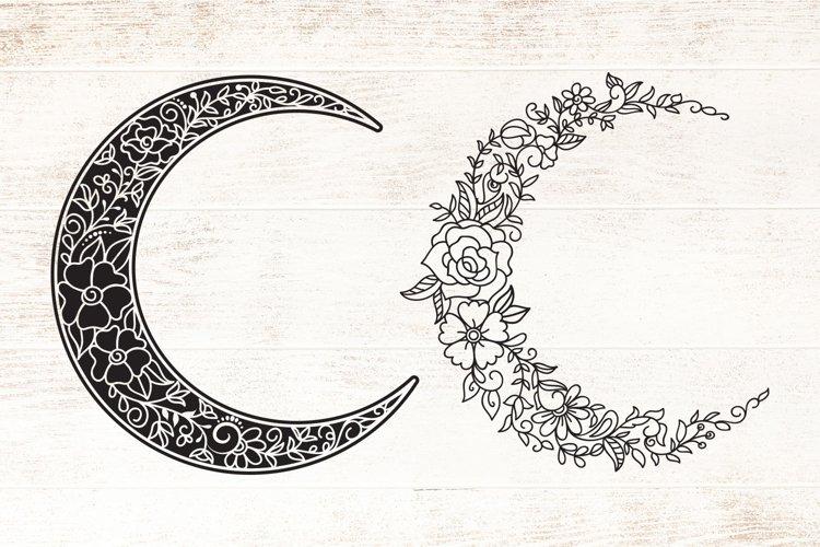 Floral Crescent Moon - SVG - Vector - Free Design of The Week Design1
