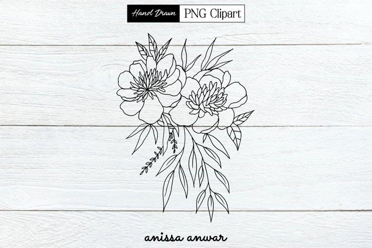 Flowers Bouquet Line Art, Png Clipart, Sublimation Printable