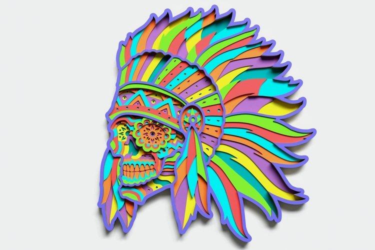 Multilayer Indian Sugar Skull Mandala, for cutting machines