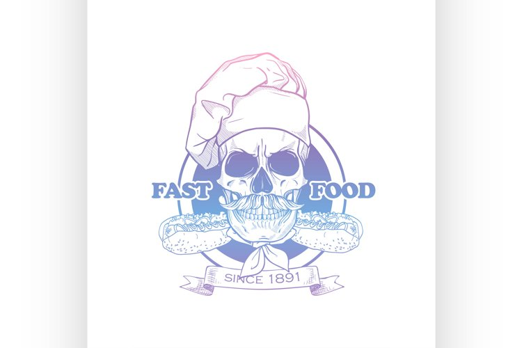 Hand drawn sketch skull with cooks hat example image 1