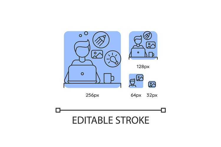 Creative designer blue linear icons set example