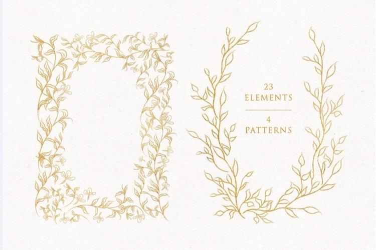 Line Drawn Golden Floristic Wreaths Sprigs botanical clipart example