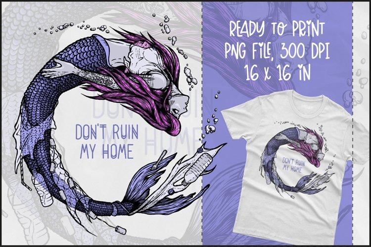 Plastic Mermaid T-shirt Design, Mermaid Sublimation PNG example image 1