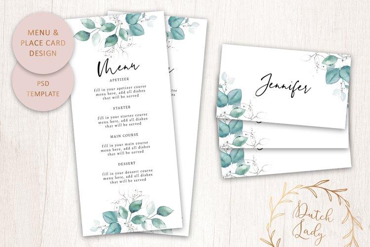 PSD Wedding Menu & Place Card Template - #1 example image 1