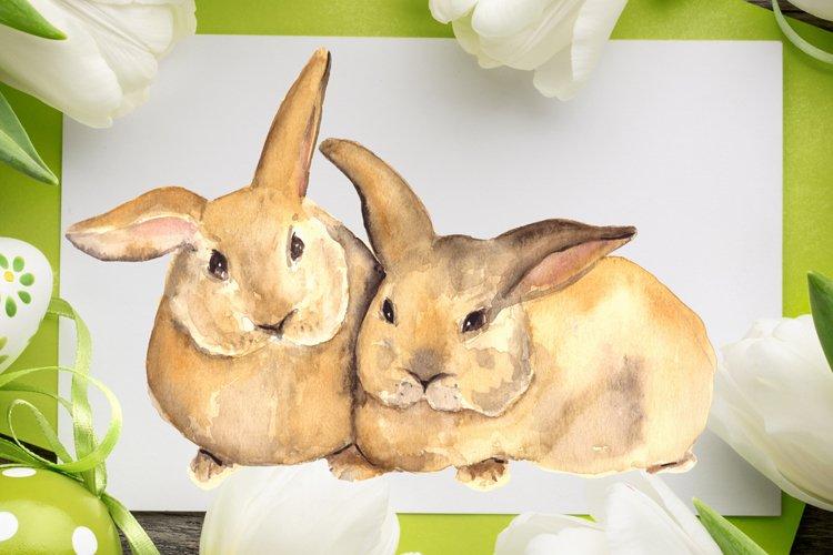 Watercolor Bunnies Print + Clip Art example image 1