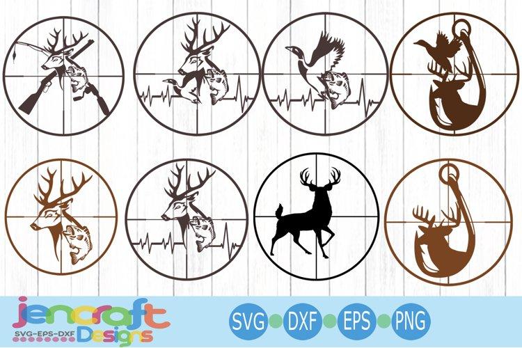 Cross Hairs Hunting Fishing Bundle Deer svg Fish svg EKG